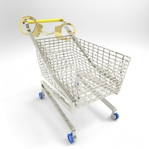 shopping cart with handcuffs around handle, signifying a petty theft crime in virginia beach